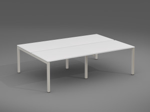 X3 4 Person Bench desk  with silver legs and white desk top