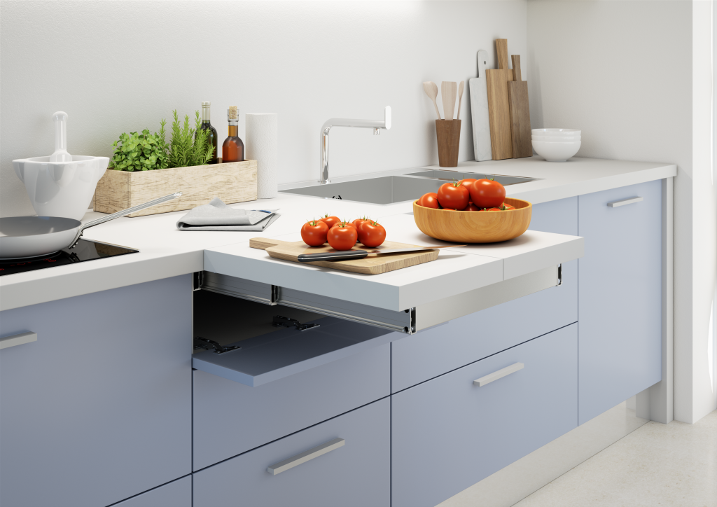 Flip Top Pull Out Kitchen Worktop