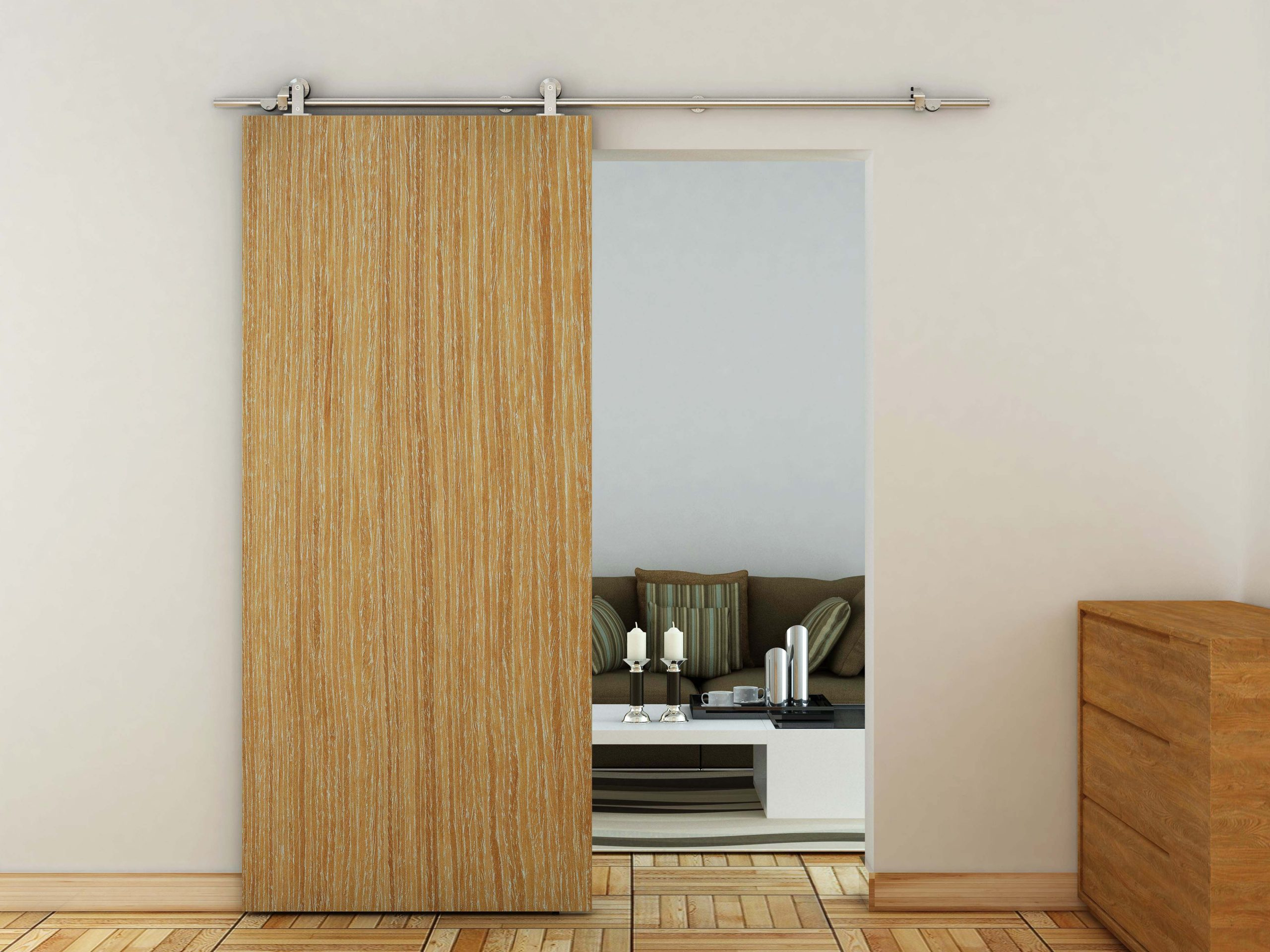 Wooden Sliding Door Kit. Single